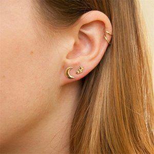 3/$25 Moon Star Studs and Double Hoop Earrings Set